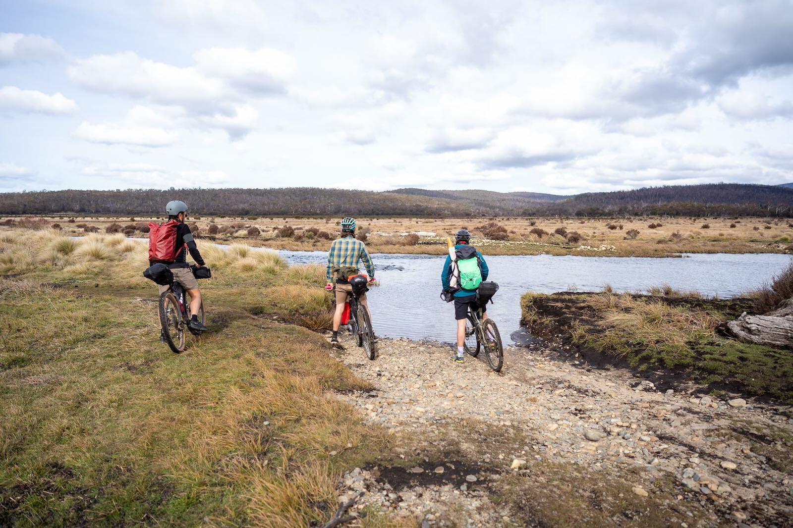 crossing the Eucumbene river near Denisons Campground