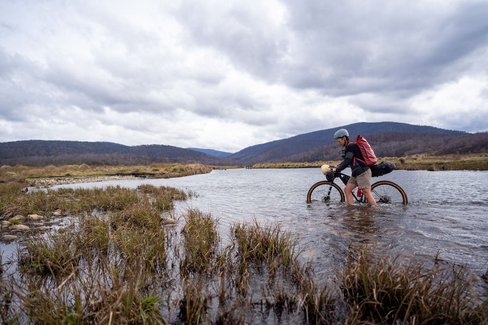 crossing the Eucumbene river near Denisons Campground on a bikepacking trip