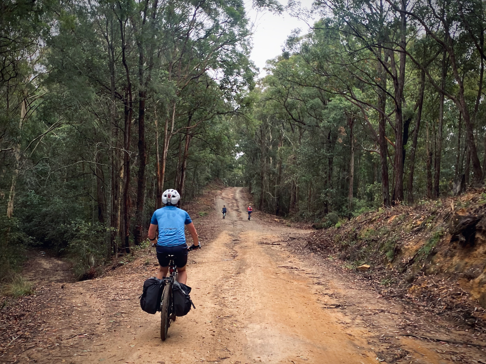 wet and muddy gravel road on the Wyong & Laguna Gravel cycling Loop