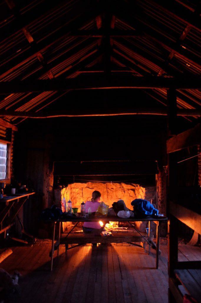 Fireplace inside Round Mountain Hut, in the Jagungal Wilderness
