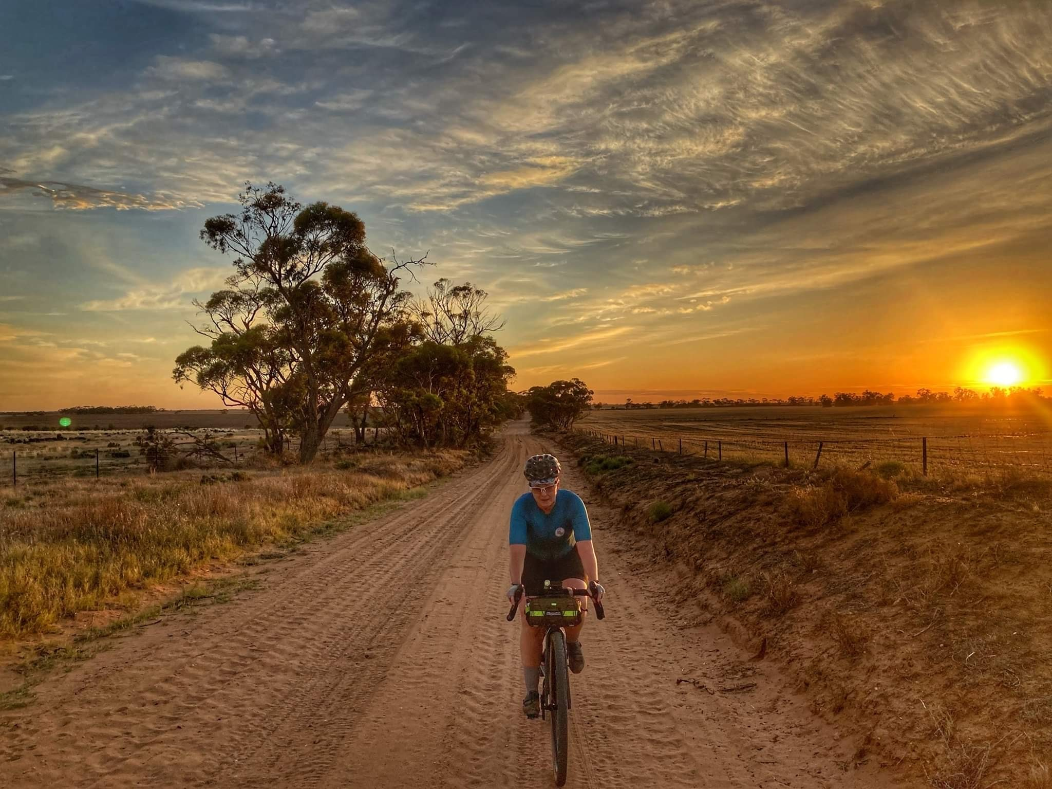 bikepacking at sunset on the Mallee Blast 1000 route