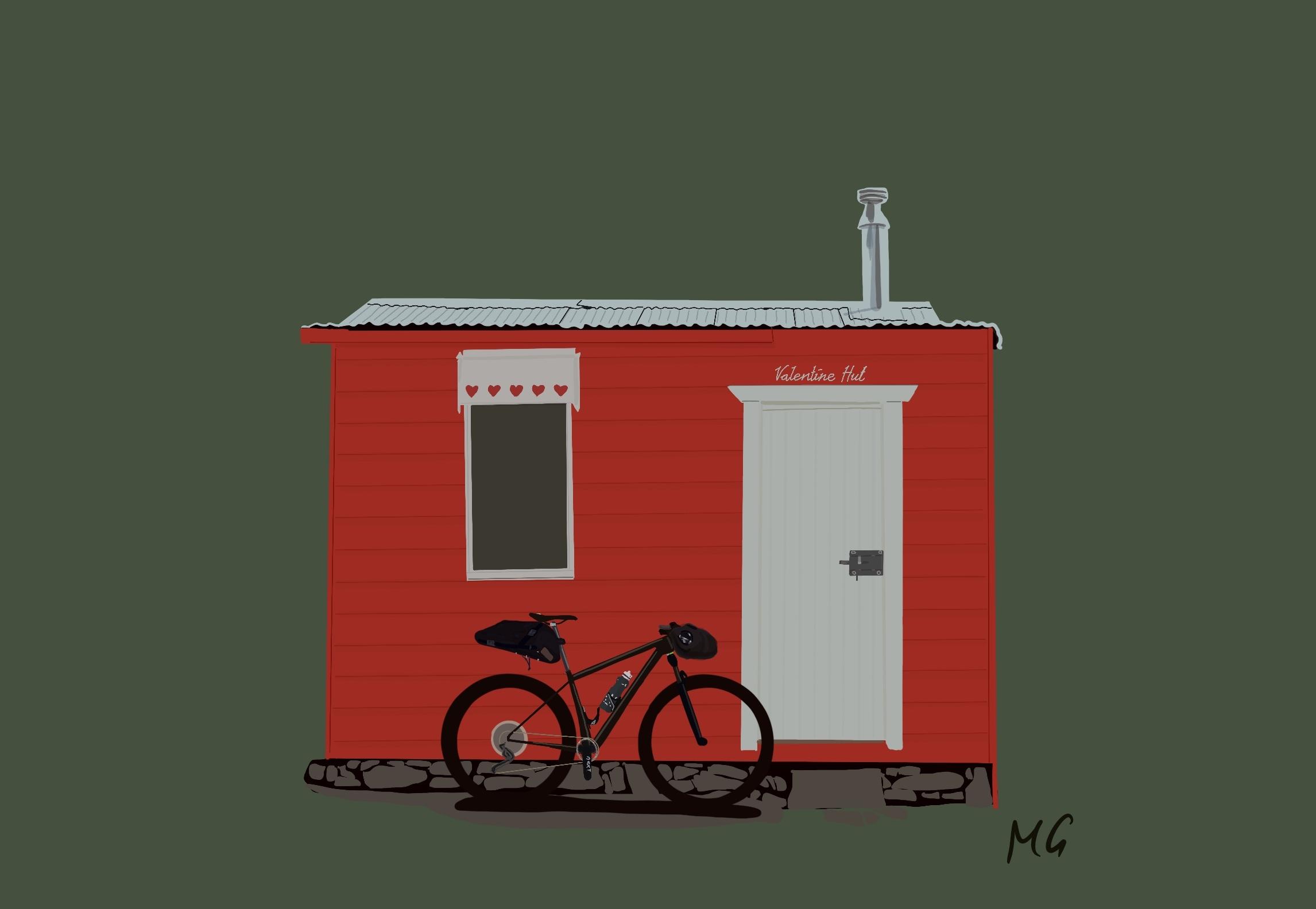 Drawing of Valentine Hut in Kosciuszko National Park @Mattiedrawsbikes Mattie draws bikes bikepacking illustrations using procreate