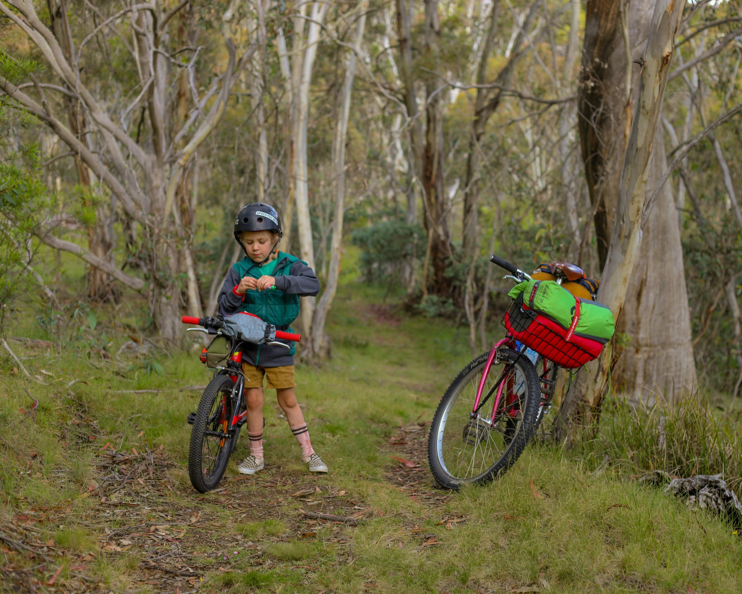 Bikepacking with a six year old, stopping for lollies