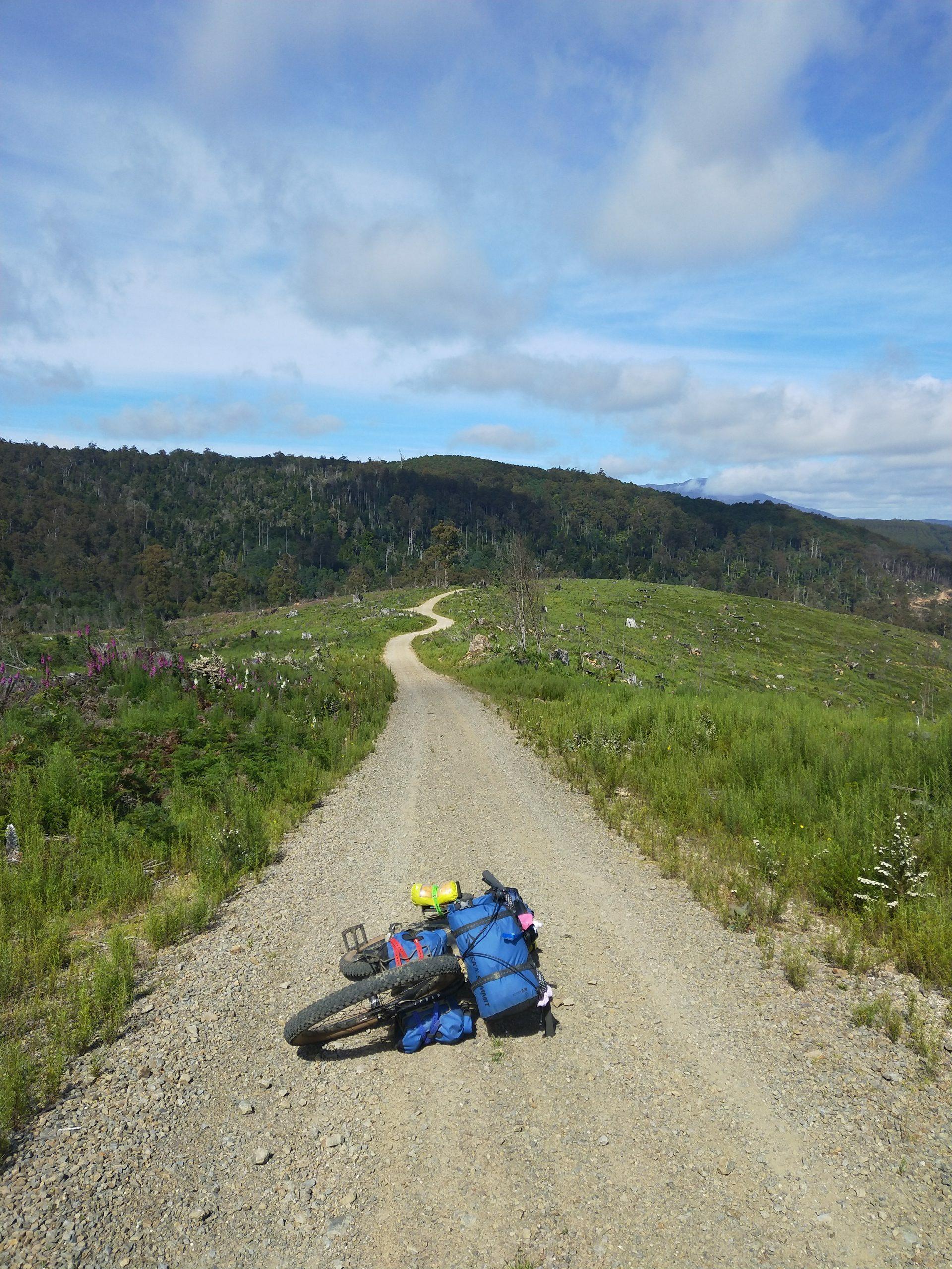 Surly Bikepacking bike in Tasmania on a gravel road