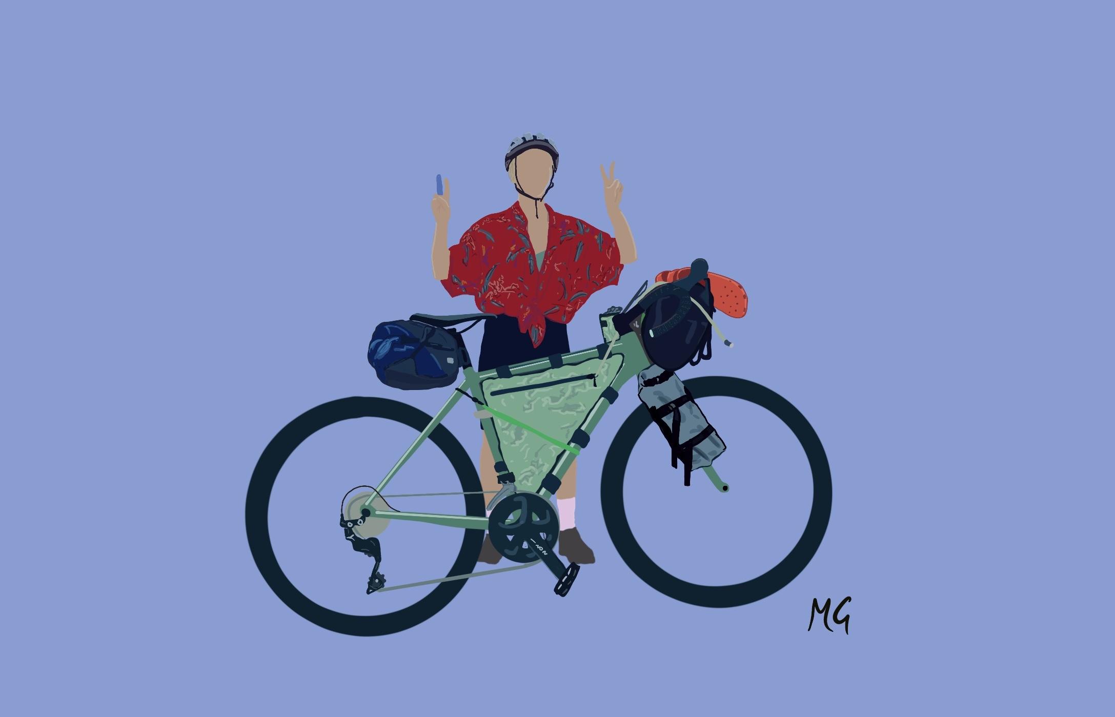 @Mattiedrawsbikes Mattie draws bikes bikepacking illustrations using procreate