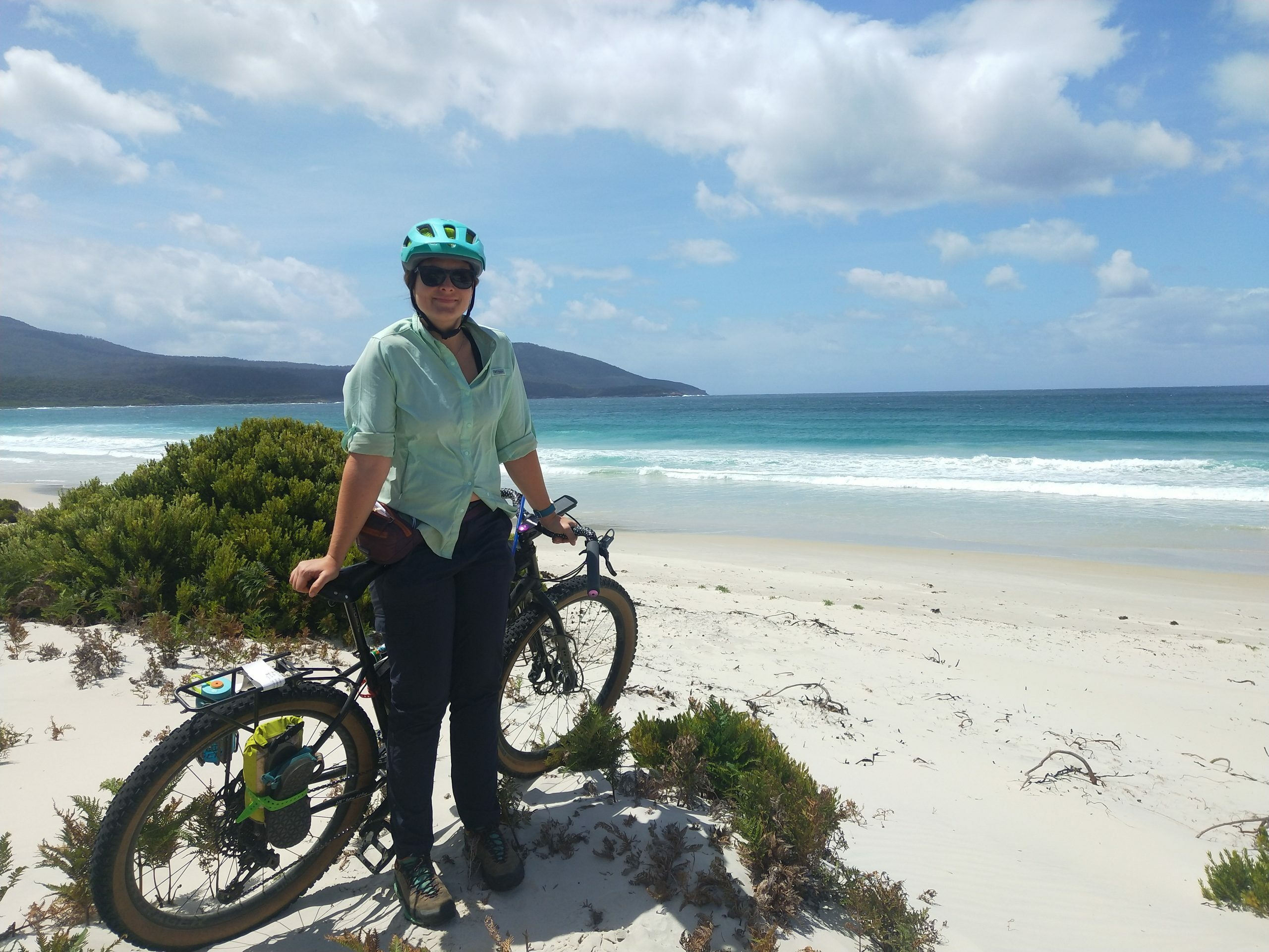 Surly bike on a beach in Tasmania