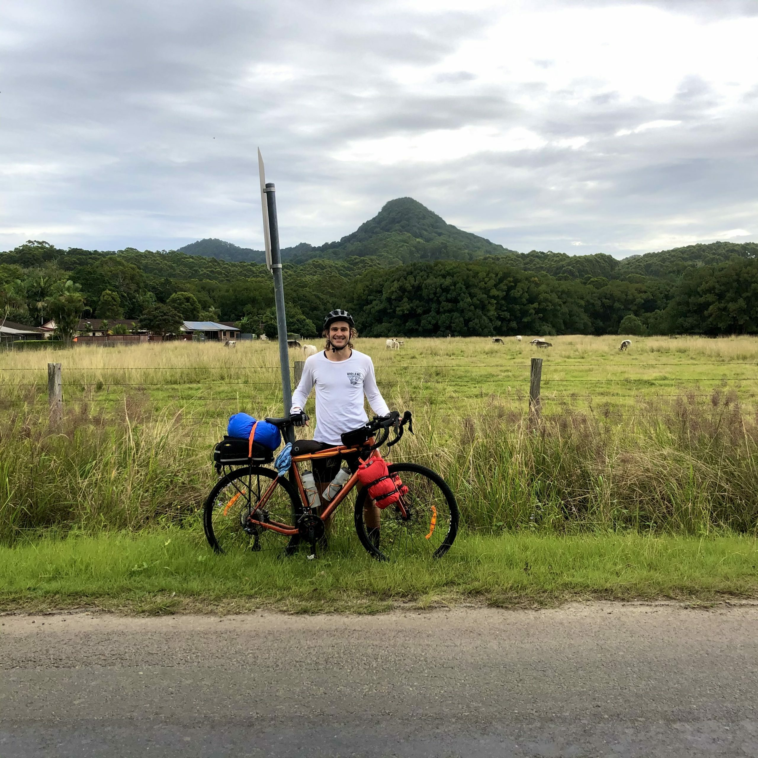 Bikepacking to Mullumbimby, Mount Chincogan in the background