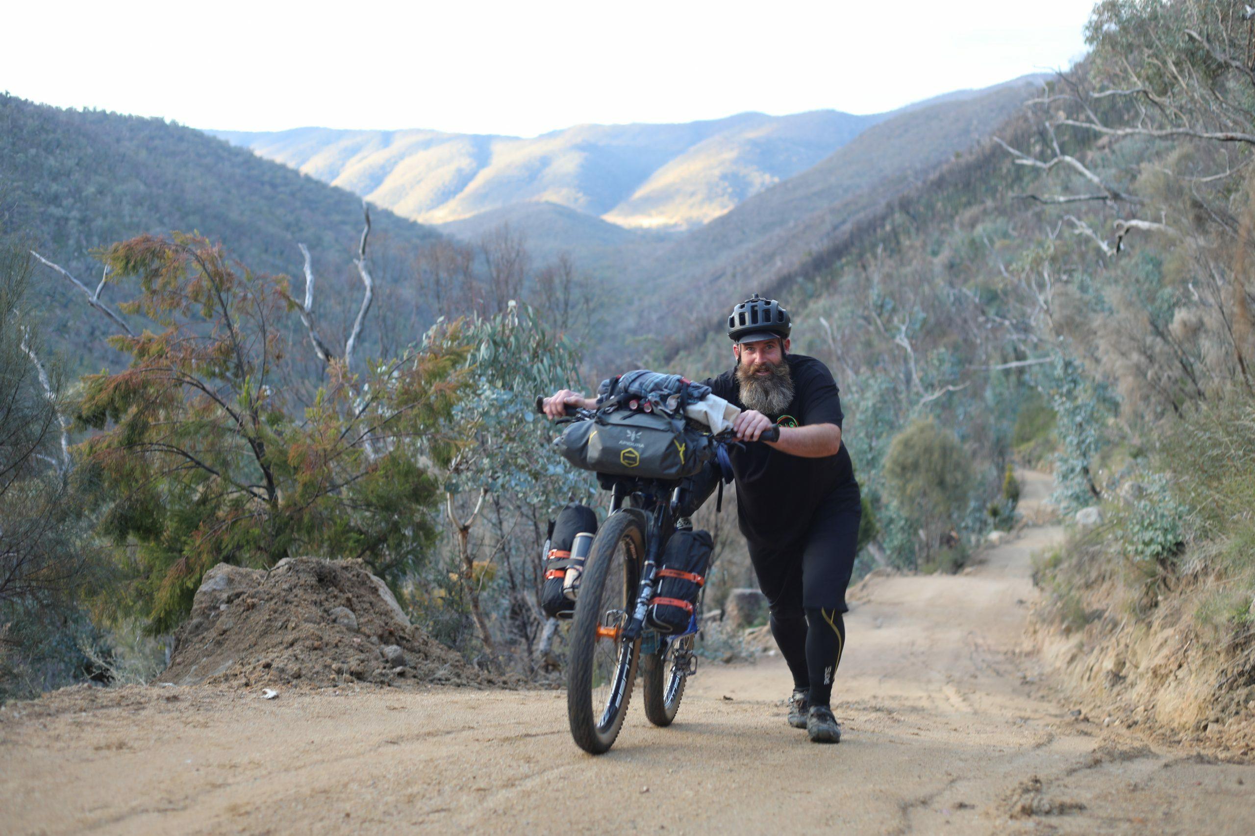 Hike a bike on the way up to Brandy Flat Hut