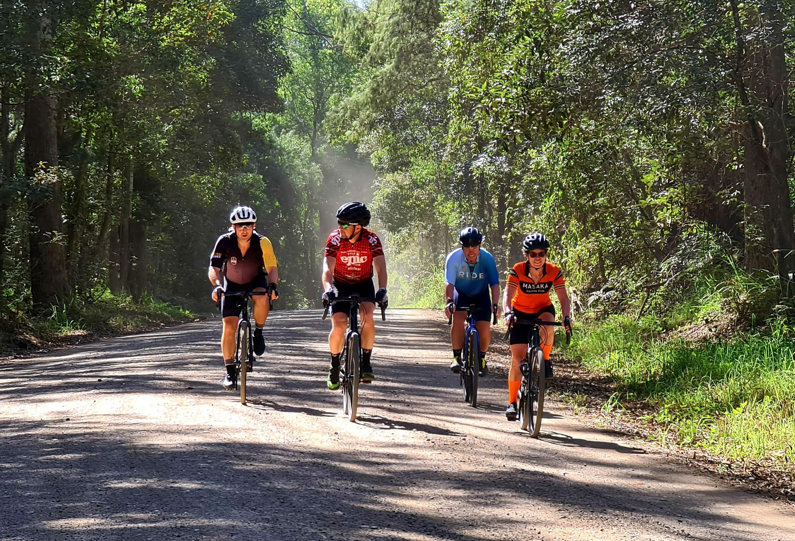 Gravel cyclists on the Noosa Gravel Camp