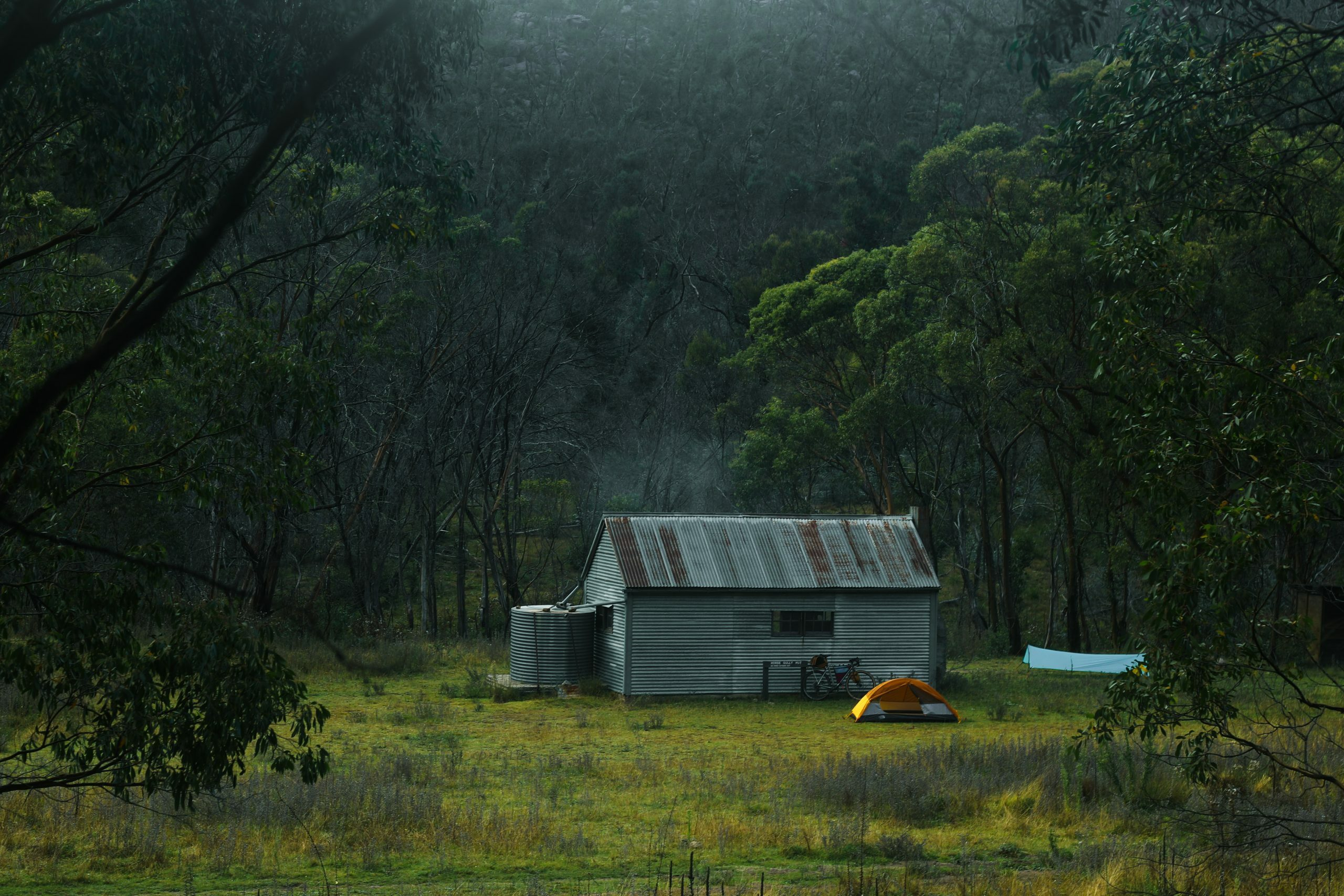 Camping outside Horse Gully Hut