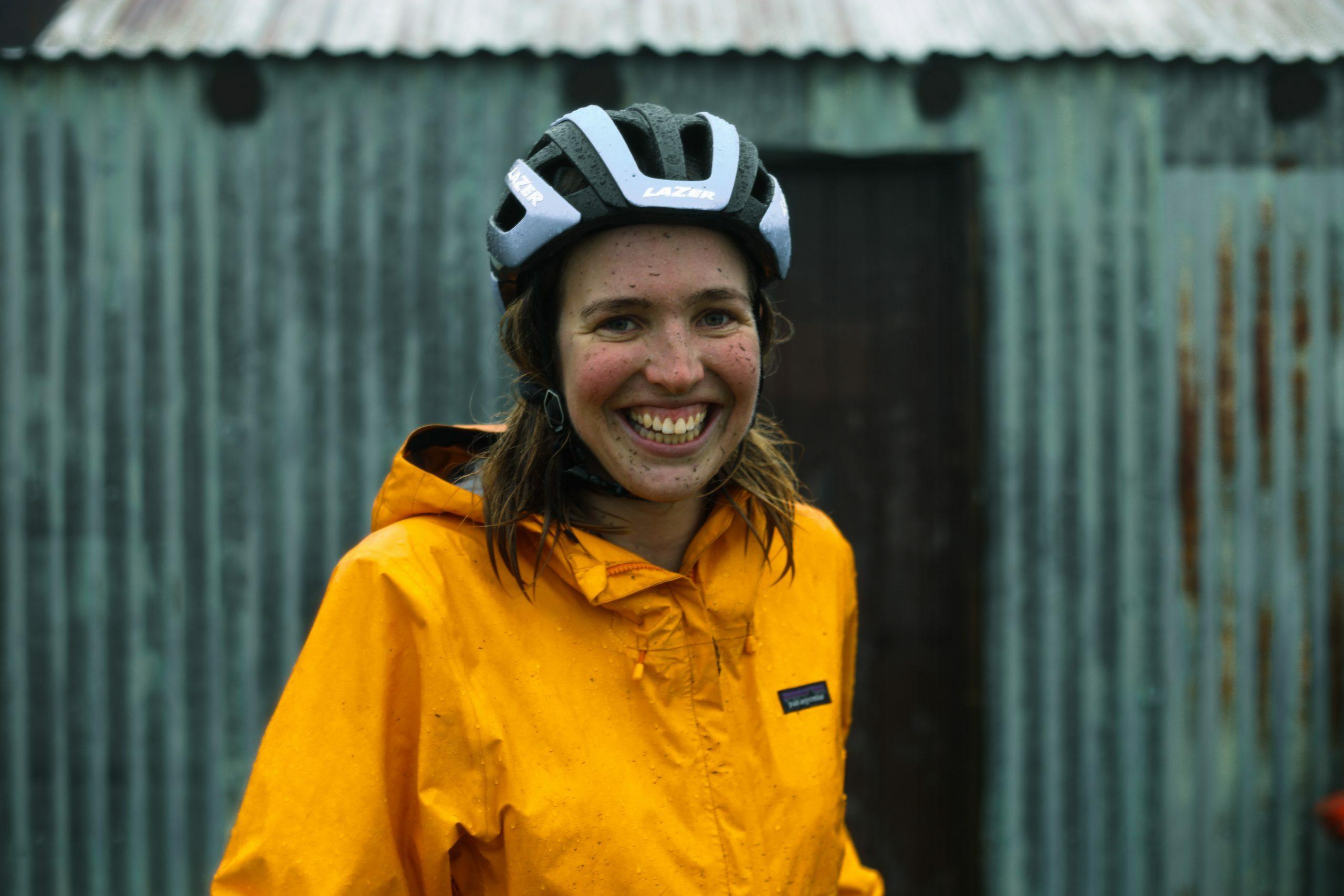 Tyla Bickley bikepacking portrait outside Whites River Hut