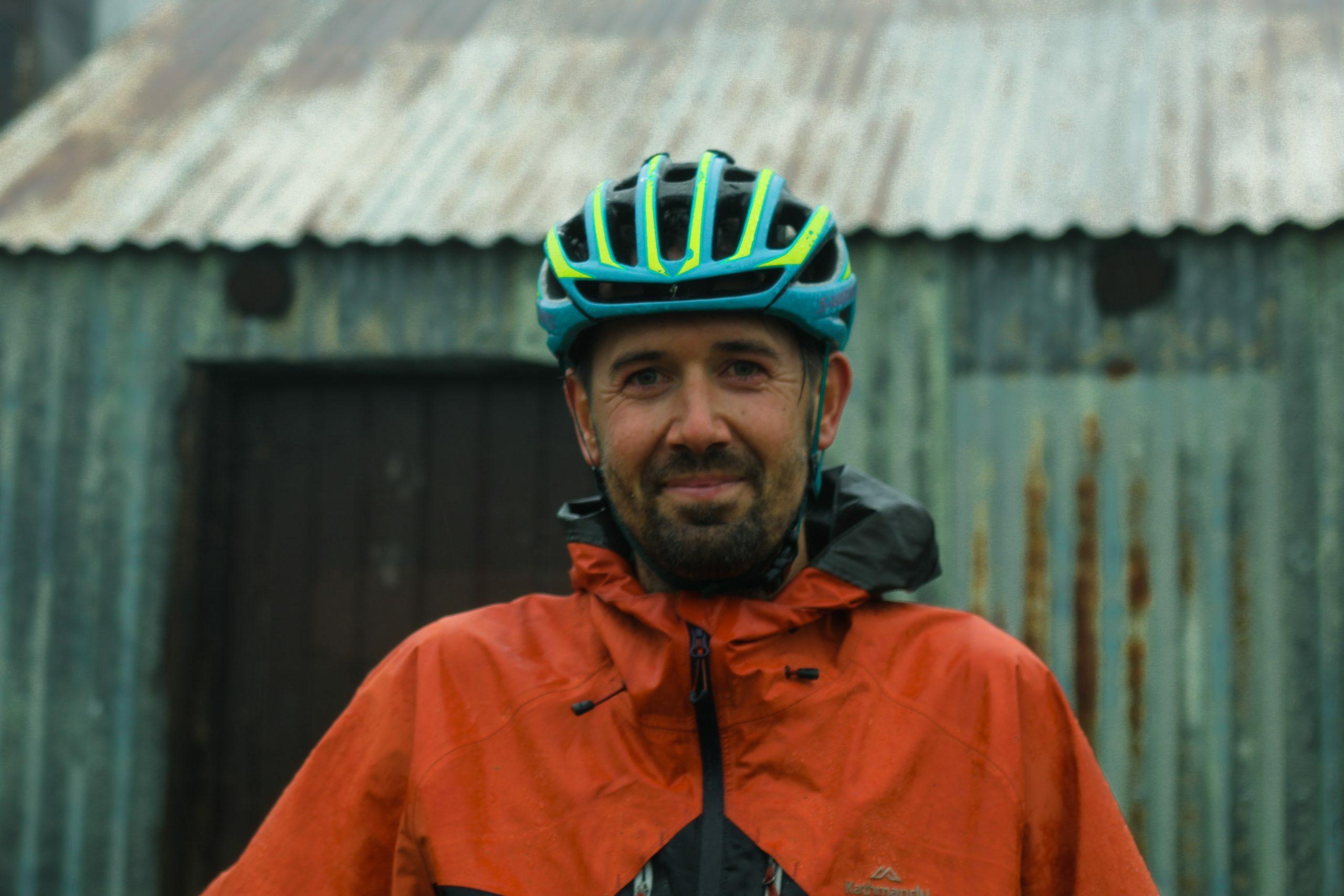 Mattie Gould bikepacking portrait outside Whites River Hut