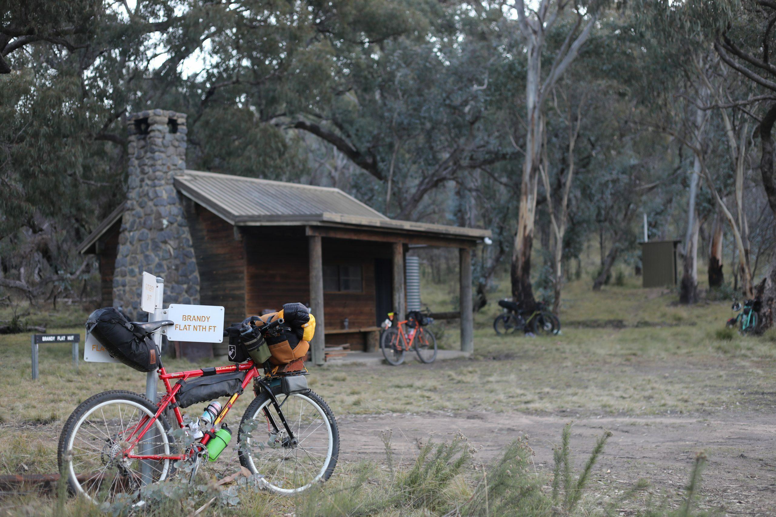 Bikepacking bike at Brandy Flat Hut