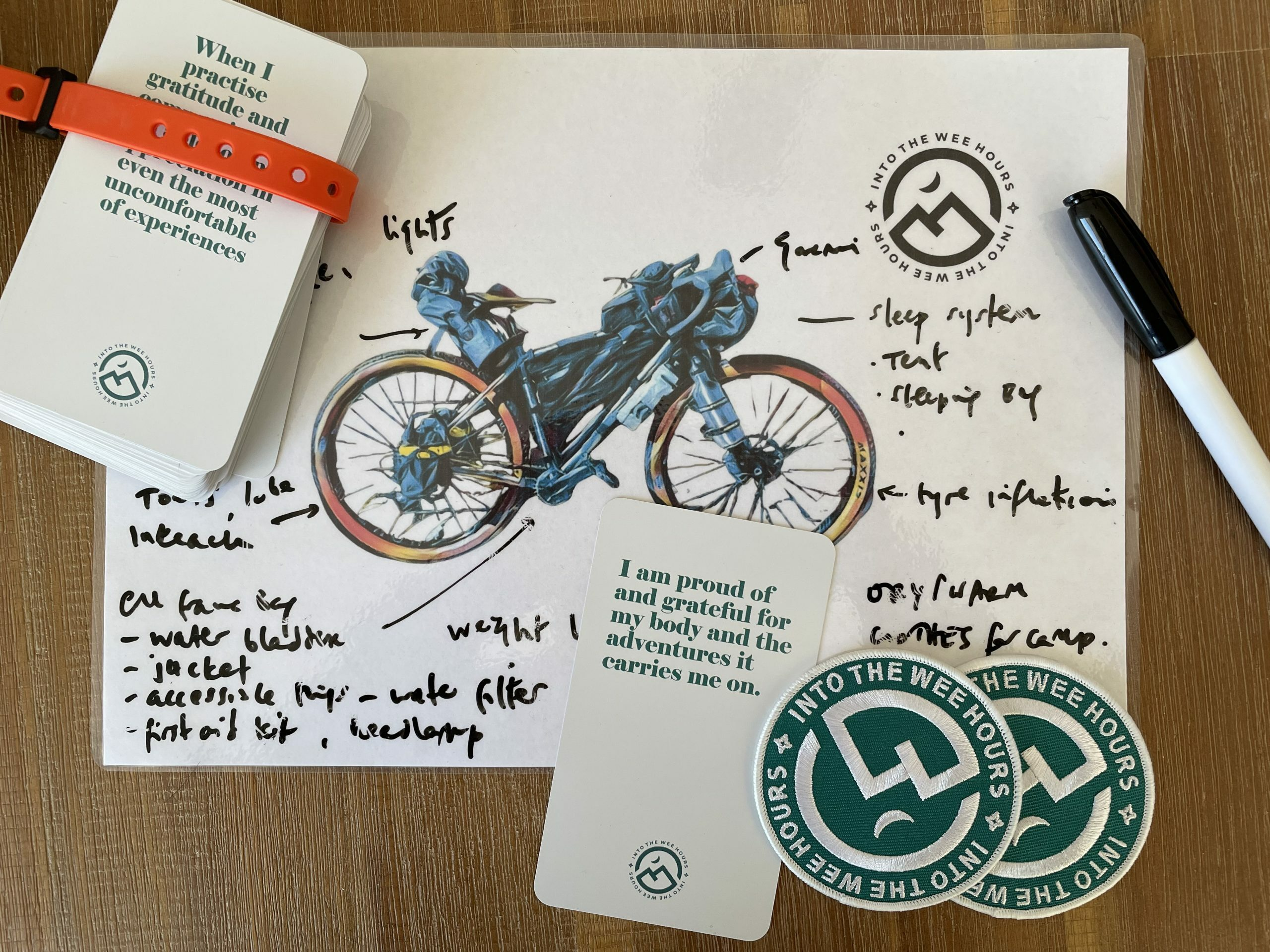 Affirmation cards at the women's intro to bikepacking workshop