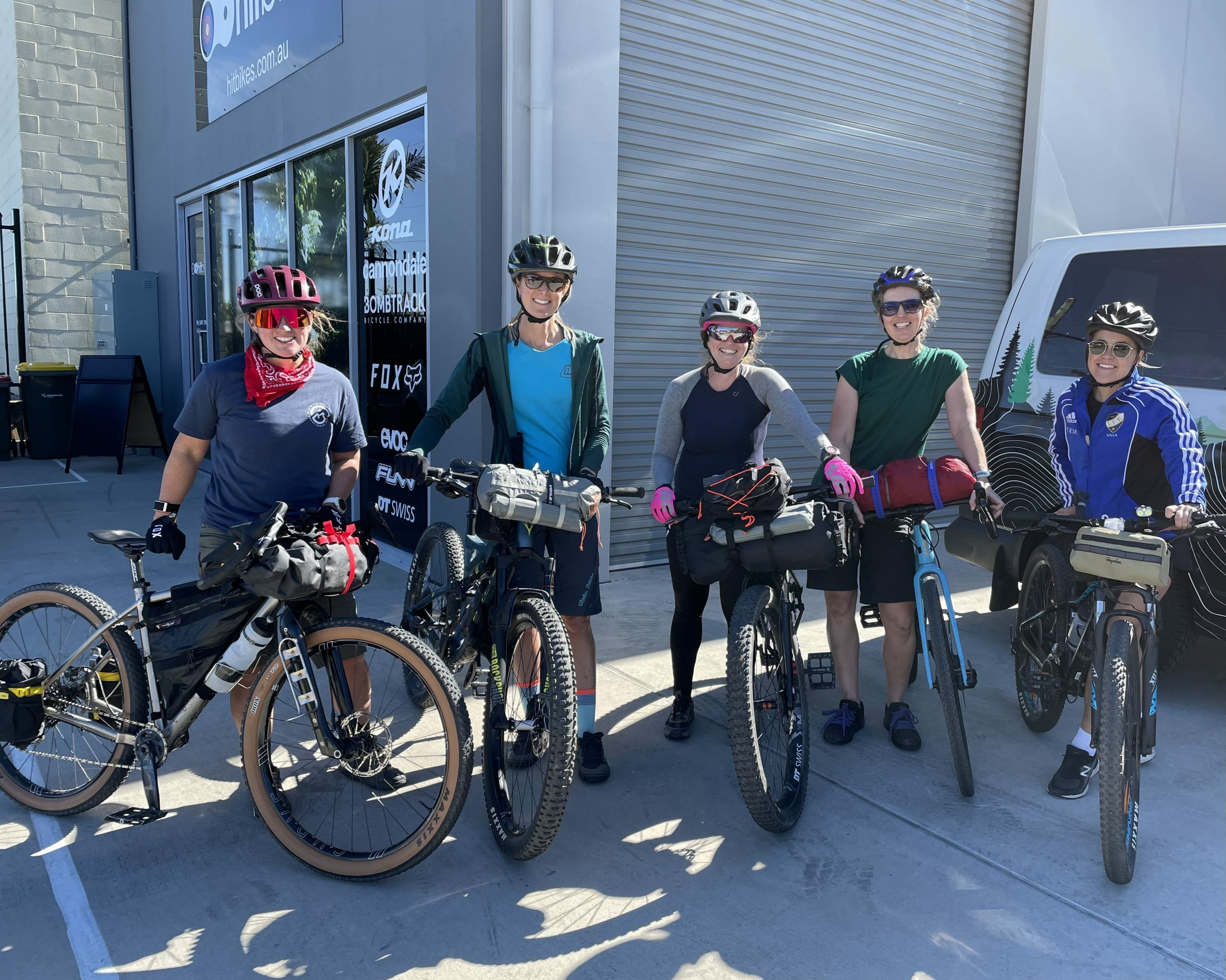 The group gathered for the Into to women's bikepacking workshop
