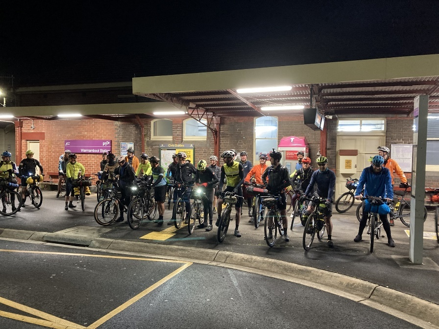 Starting riders on the inaugural Winter Solstice 300