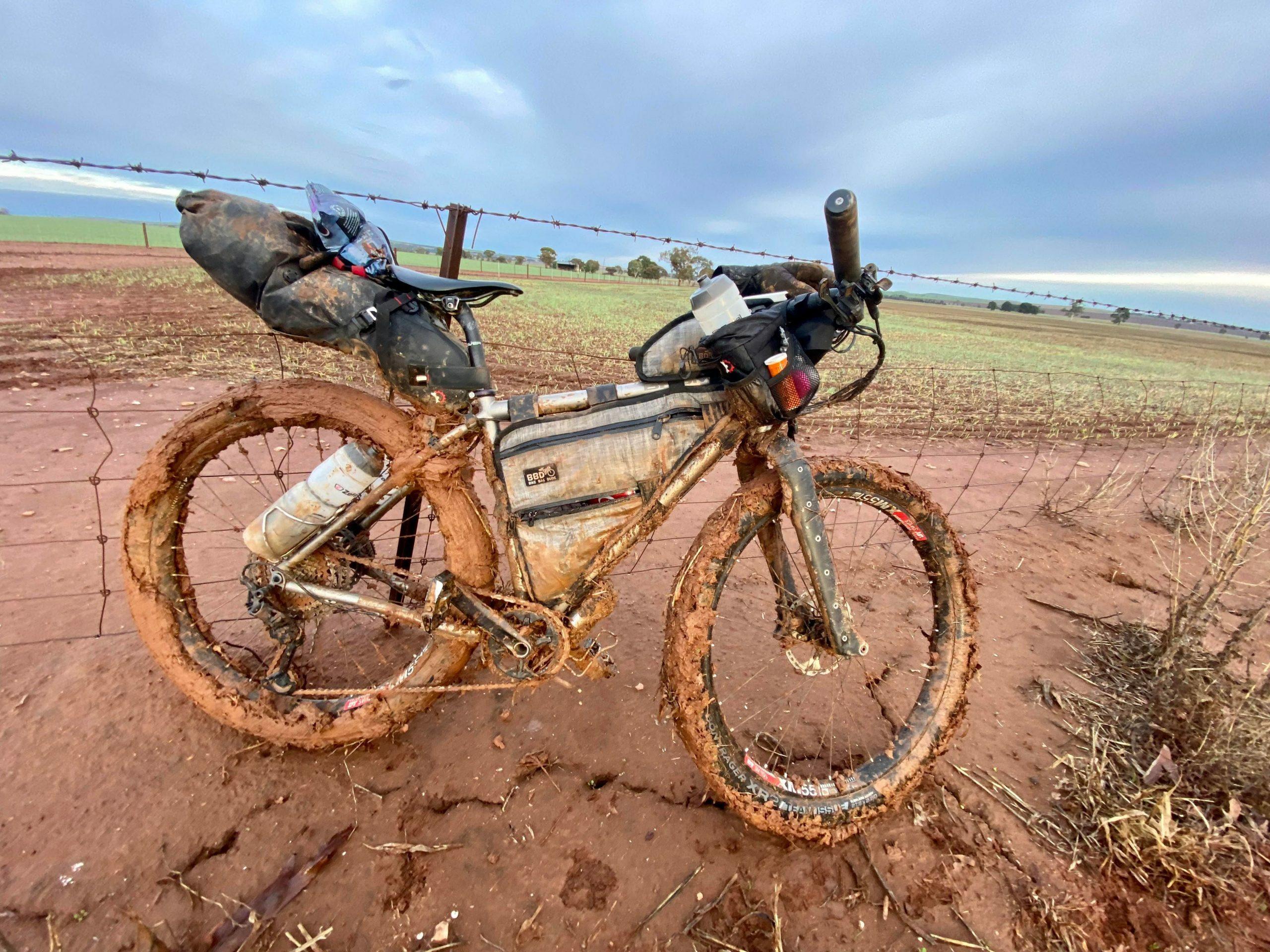 April's muddy bike on the Kudlila Rally course