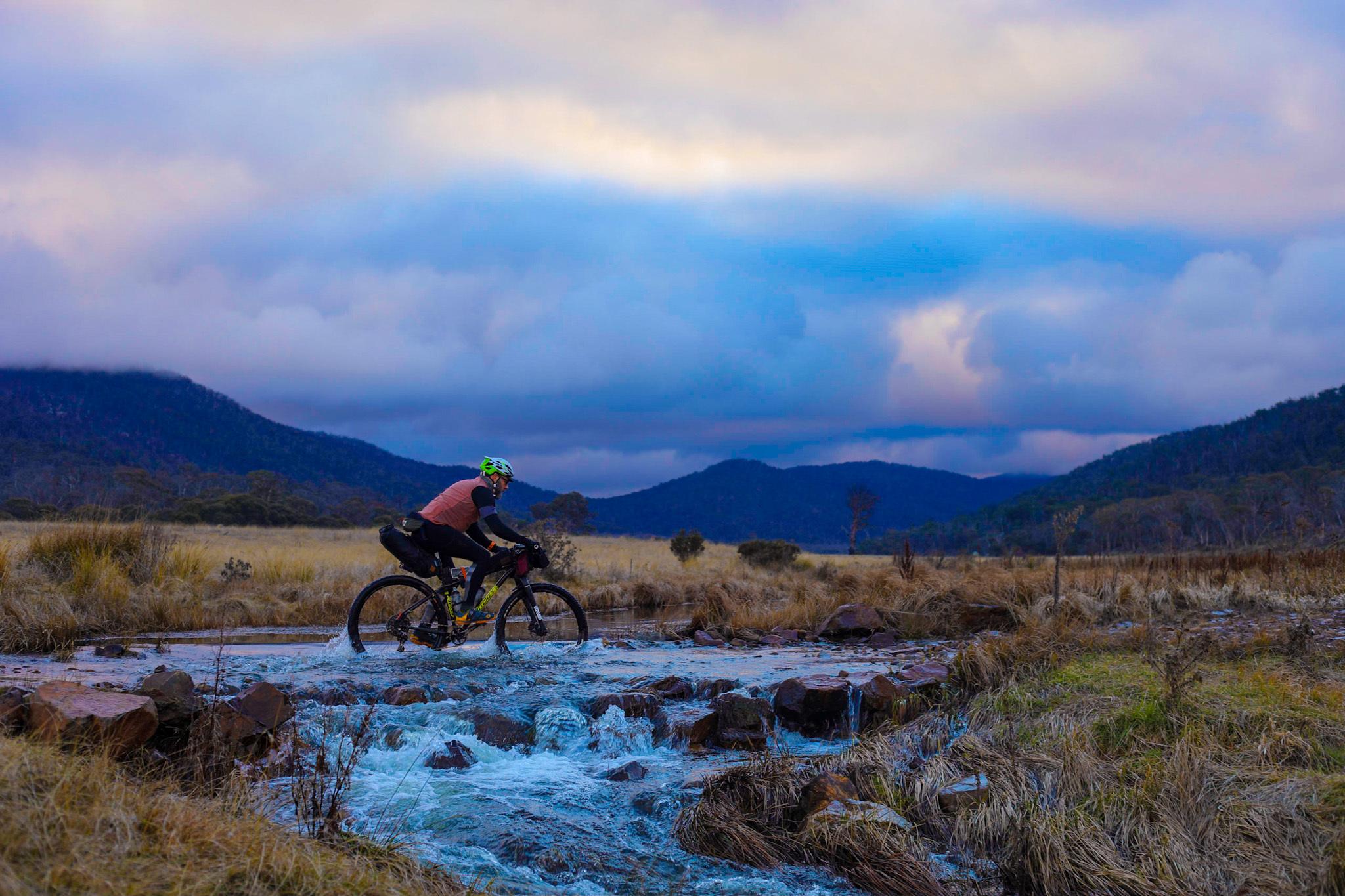River crossing while bikepacking in Namadgi National Park