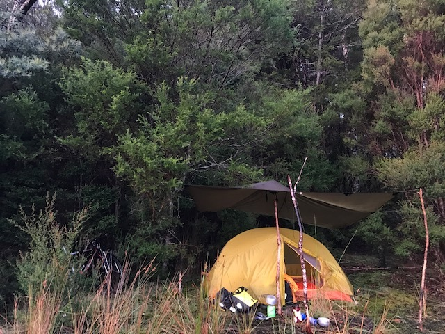 Terra Rosa Tarp and a Mont moo dance tent camping in the Tassie bush