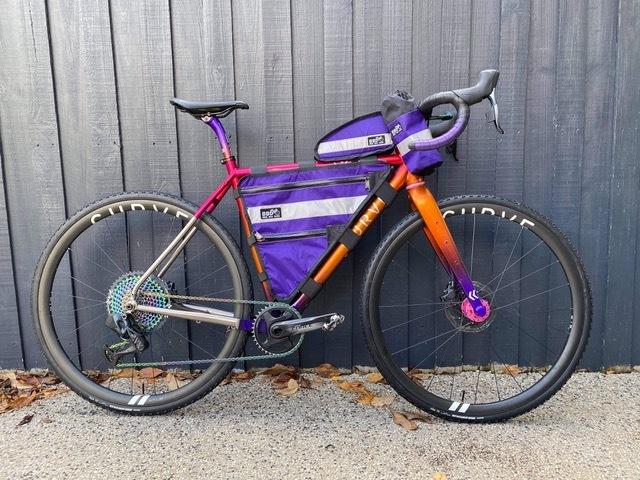 Bike Bag Dude Bikepacking bags on a Curve bike