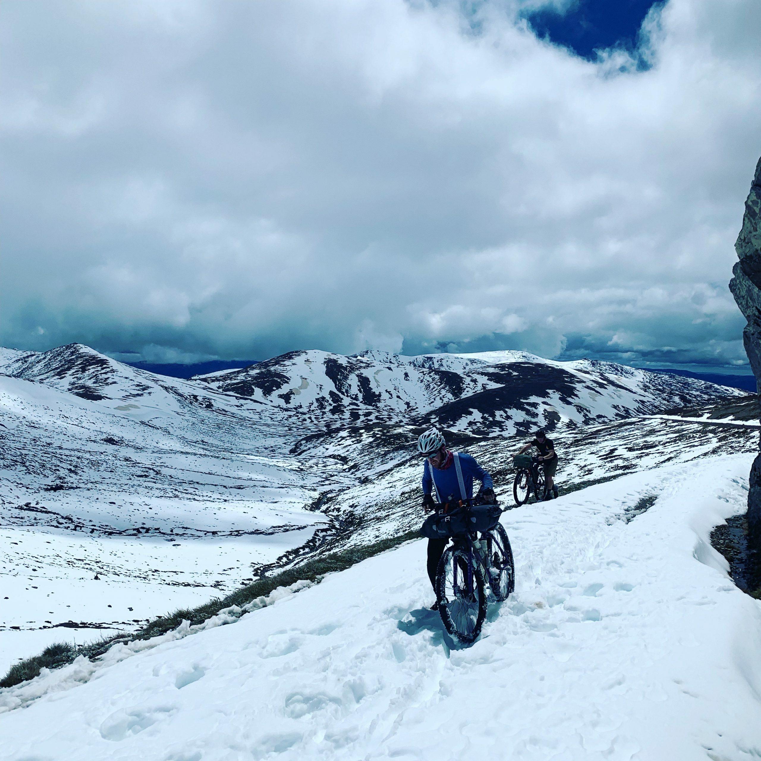 Pushing through snow on the Hunt 1000
