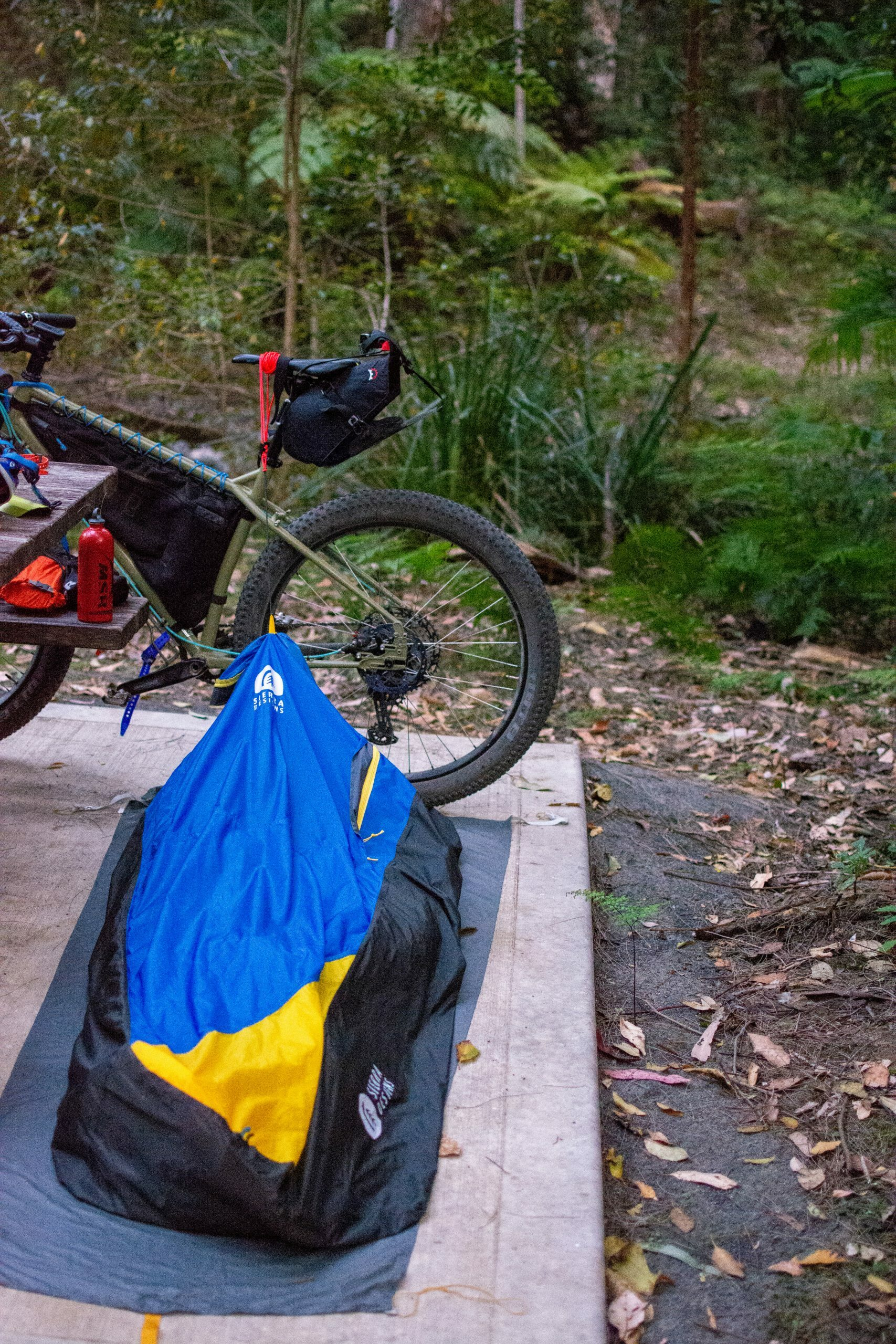 Sierra deigns bivvy bag camping on a bikepacking trip
