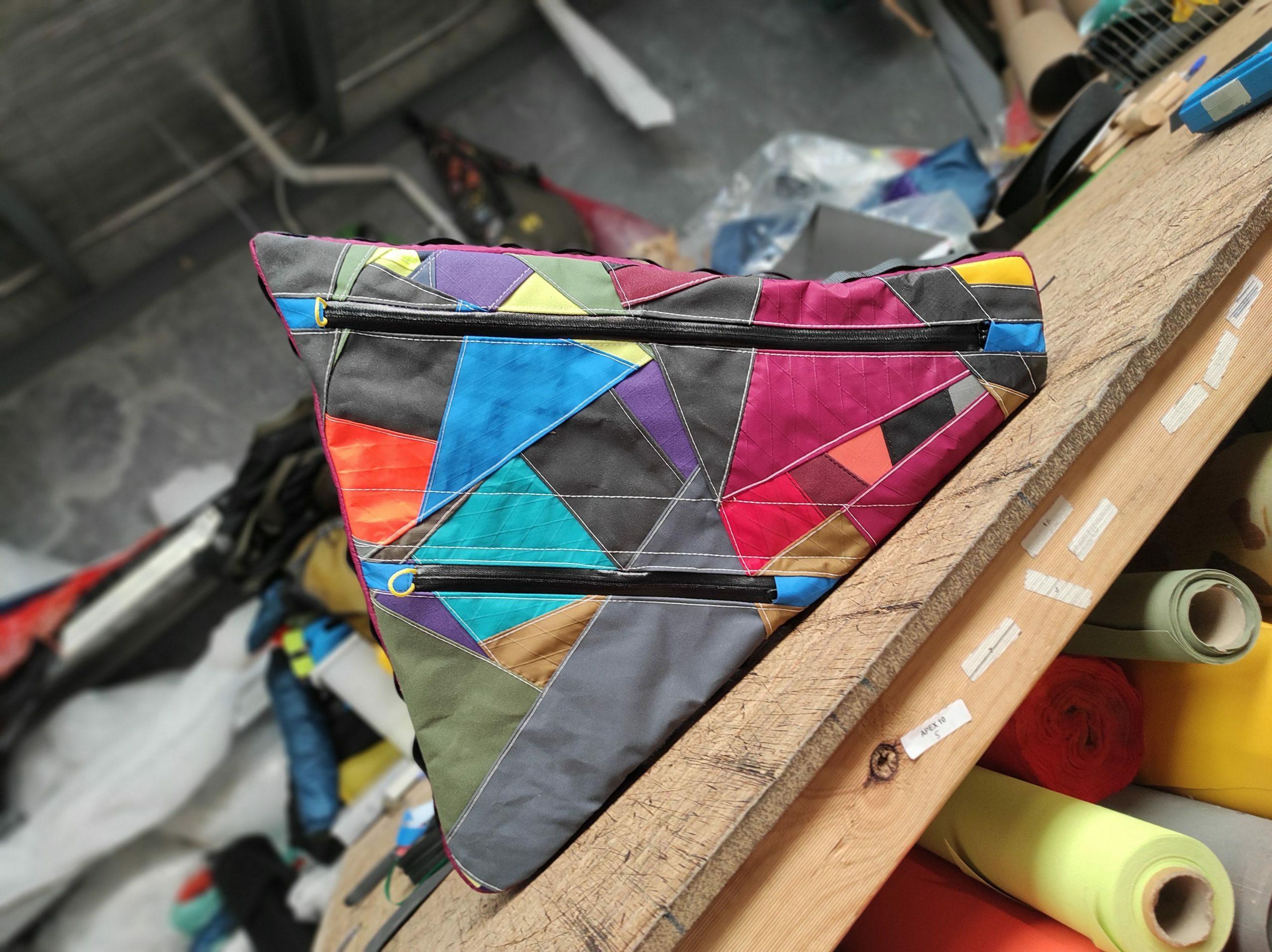 Custom off-cuts frame bag made by Terra Rosa Gear
