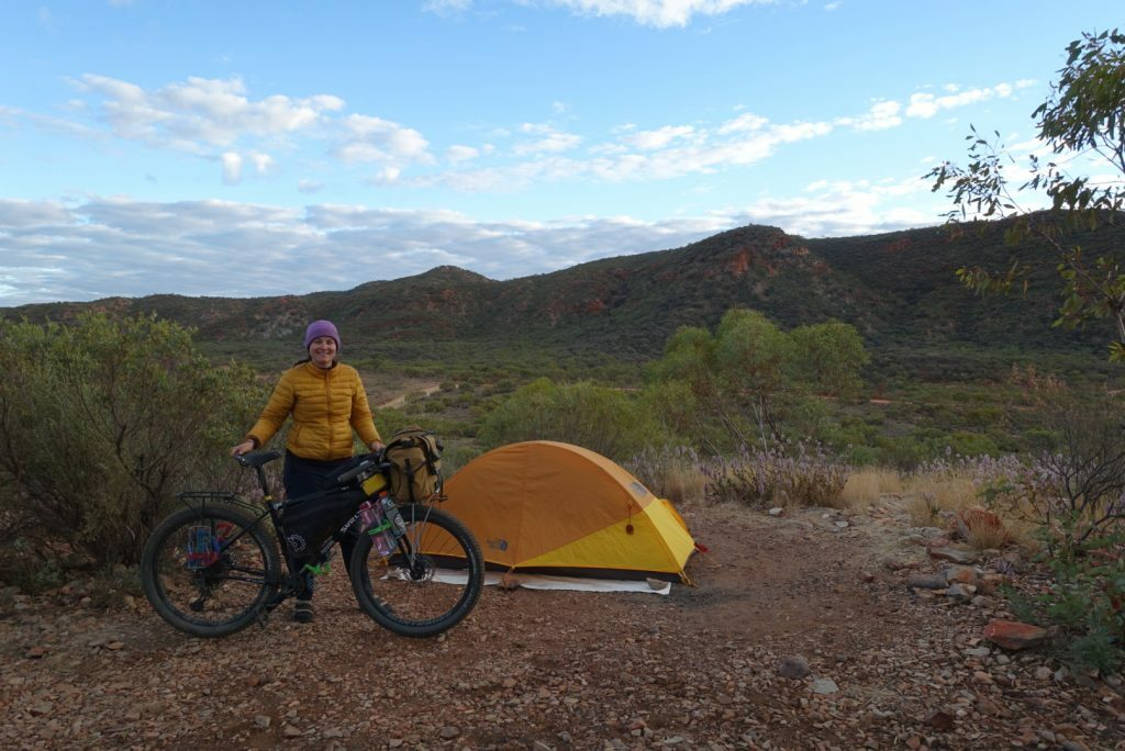 Bikepacking bike in front of a tent in the Australian outback, South Australia